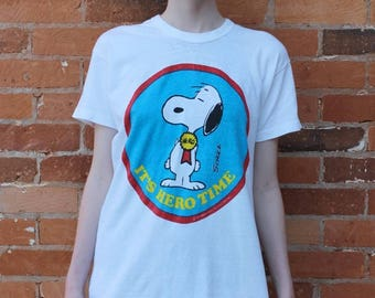 Snoopy 1970s It's Hero Time T-Shirt, size L