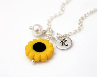 Sunflower Flower Girl Necklace, Kids Wedding Jewelry, Childrens Personalized Necklace, Childrens Jewelry, Wedding Gift, Flower Girl Gift