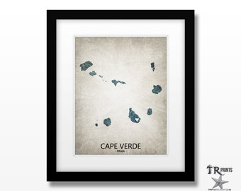 Cape Verde Map Print - Home Is Where The Heart Is Love Map - Original Custom Map Art Print Available in Multiple Size and Color Options