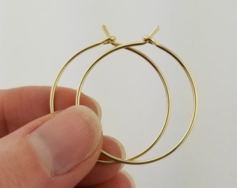 Thick 14k Gold Hoop Earrings, 18 Gauge, Solid Gold Hoop Earrings, Solid 14k Gold Hoops, Solid Gold Earrings, Round Hoops, Mothers Day Gift