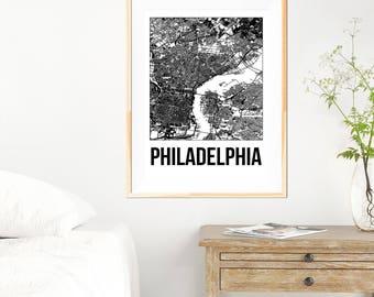 Philadelphia City Map Print - Black and White Minimalist City Map - Philadelphia Map - Philadelphia Print - Many Sizes/Colours Available
