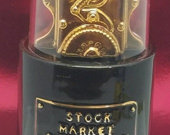Vintage Ezra Brooks 155 Stock Market Quotations Decanter 1970 NYSE 24k Gold Heritage China Retro Estate Barware Collectibles Man Cave
