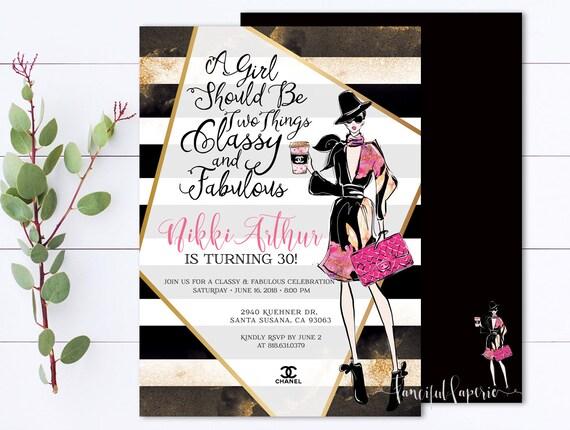 Chanel 30th Birthday Invitations Coco Chanel Invitation