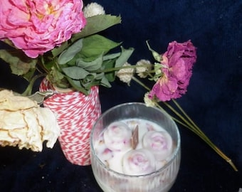 3 roses I Love U  apricot freesia + rose flower wedding happiness scented candle Apricot Freesia&catnip