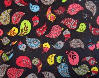 "Black pvc coated fabric * waterproof * pattern ""CHEEP CHEEP"""