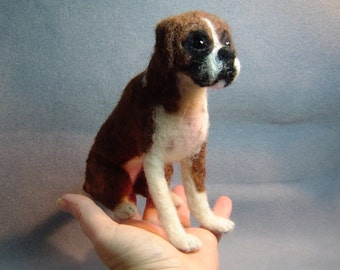 Boxer dog Custom needle felted dog soft sculpture memorial art animal