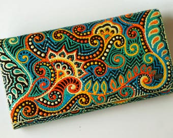 wallet, purse, Painted purse, hand-painted, original gift, gift woman, amazing painting, unusual gift, handmade