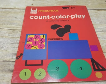 Color Count Play, Preschool Happy Helper Arithmetic Workbook, 1968, vintage kids book