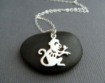 sterling silver monkey necklace. small Chinese zodiac symbol. Shengxiao. sheng xiao. tiny spirit animal sign pendant. simple charm jewelry.