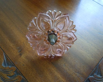 Vintage Large Pink Glass Flower Petal Tie Back Hardware