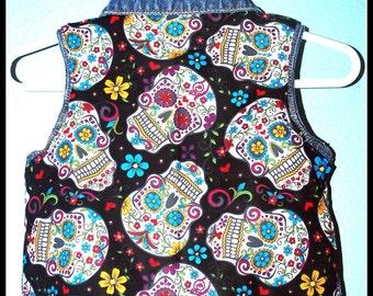 Girls Rockabilly Sugar Skulls Denim Vest....size 9 months
