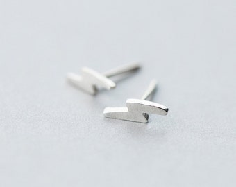 Tiny Lightning Bolt Sterling Silver Earrings, Lightning Bolt Earrings, Lightning Earrings, Lightning Bolt Jewelry, The Flash