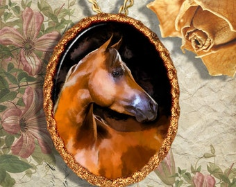 Chestnut  Arabian Horse Jewelry Pendant Necklace Handcrafted Ceramic