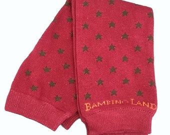 Organic Baby Leg Warmers Red with Brown Stars