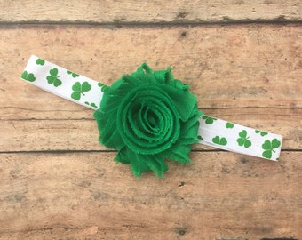St Patricks Day Headband - St Pattys day headband - Shamrock Headband - Clover Headband - Green flower headband - Green Headband - Irish