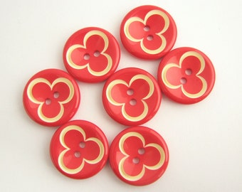 Medium large red flower buttons, Lovely coat buttons for little ladies!! Unused sewing supplies!