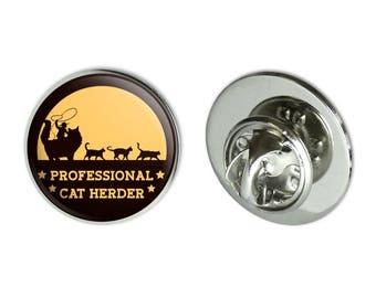 """Professional cat herder funny metal 0.75"""" lapel hat pin tie tack pinback"""