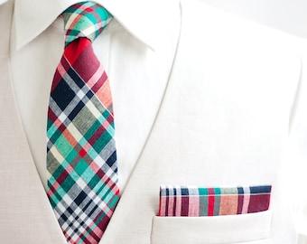 Necktie, Neckties, Mens Necktie, Neck Tie, Mens Necktie, Groomsmen Necktie, Ties, Wedding Neckties - Red, Navy, Green Organic Madras Plaid