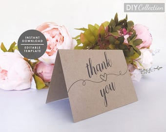 Printable Thank You Card Template, WeddingThank You Card, Kraft Thank You card, Instant Download, Printable Template, GD_WT125