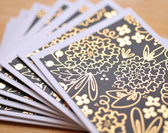Black and Gold Mini Cards // Set of 4 // Blank Cards // Gift Card Envelope // Metallic Finish // Love Note // Guestbook // Scrapbooking