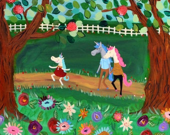 Unicorn Family Outing- 16 x 20 Original Painting on Canvas
