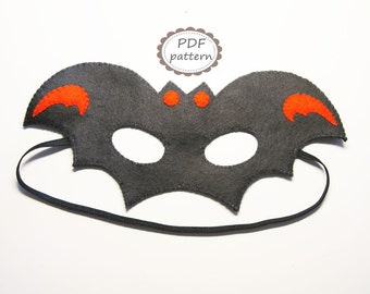 PDF PATTERN Bat felt mask sewing tutorial instruction - Black Orange - DIY Halloween costume accessory for boys girls adults Dress up play