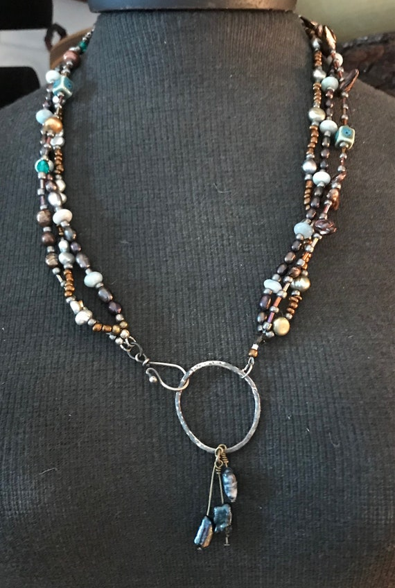 Multistrand pearl bohemian necklace