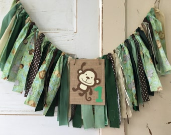 Wild One High Chair Banner.  Safari Boys First Birthday High Chair Banner, Smash Cake Boys Birthday Party photo Props