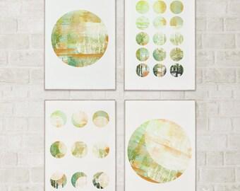 Geometric Set of 4 Prints Set of 4 Wall Art set of 4 Art Prints Watercolor Print Geometric Art Geometric Print Orange Decor Orange Wall Art