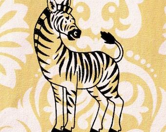 Zebra Stamp: Wood Mounted Zebra Rubber Stamp