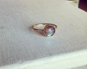 8mm Rose Cut Labradorite Gold Stacking Ring - custom made to size