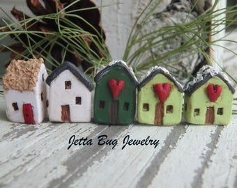 Orphan Houses- polymer clay house bead, tiny winter house bead. slant roof. heart house. rustic woodland polymer house bead. Jettabugjewelry