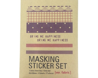 Masking Sticker Set; Ver. Fabric; Filofax Supplies; Craft Supplies; Masking Sheet; Stickers: Sticker Pack; Kawaii; Planner Supplies; Sticky