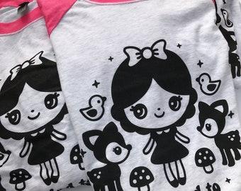 Snow White Kind to Animals T-Shirt Pink Raglan - Unisex Sizes XS - 2XL