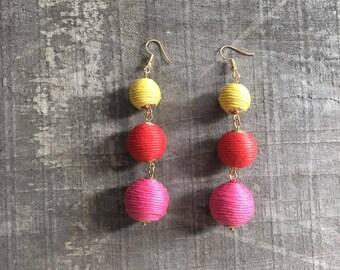 Ball Earrings -threaded ball earrings - drop Earrings - Statement Earrings - pink Earrings -Long Earrings - Gold Earrings - yellow earrings