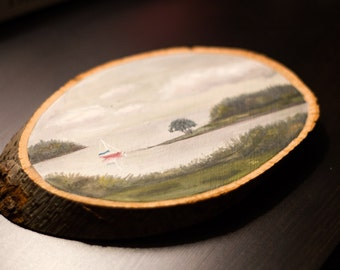Maine Oil Landscape Painting - Landscape Painting - Oil Painting - Wood Slice Painting