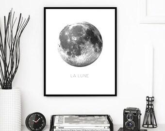 MOON PRINTABLE | La Lune Print | Moon Print | Moon Wall Art | Moon Wall Print | Digital Moon Print | Full Moon | Moon Printable