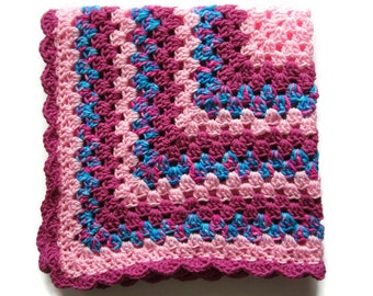 Pink Baby Blanket, Crocheted Granny Square Afghan, Baby Shower Gift for Girl
