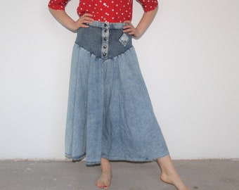 Denim Skirt Knee Length Skirt Cowgirl Skirt Country Western Hipster 80s Style full denim circle cotton grunge High Waisted Waist 27 W28 M