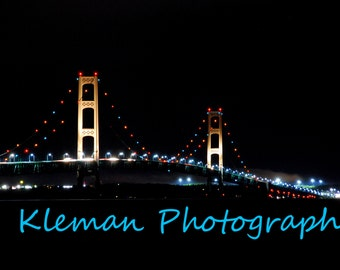 Mackinaw Bridge at Night Magnet-READY TO SHIP