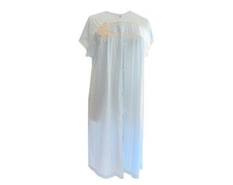 Robe Romantic Lace Inset Pastel Blue Button Down