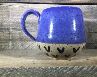 Ceramic Mug / Teacup / Hand-painted / Teal / Purple / Pink / Green- READY TO SHIP