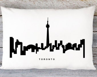 Toronto Skyline Pillow Cover - Toronto Cityscape Throw Pillow Cover - Modern Black and White Lumbar Pillow - By Aldari Home
