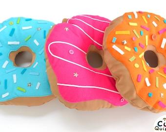 Light Orange Donut Pillow - Handmade food cushion