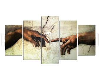 The Creation Of Adam Michelangelo Fresco Painting Canvas Print Gift 5 Panels