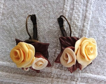 Vintage earrings, Yellow and brown roses earrings, Vintage roses earrings, Beautiful earrings, Elegant earrings, Vintage jewelry, Earrings