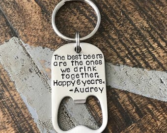 FREE SHIP USA The Best Beers Gift Bottle Opener Keychain 1 year anniversary gift for him Custom Boyfriend Gift Anniversary Keychain