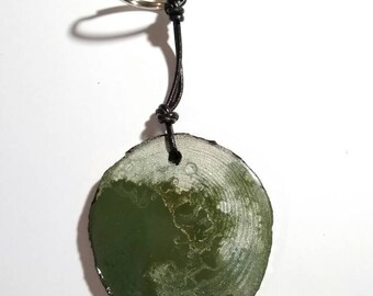 Green Wood Key Ring
