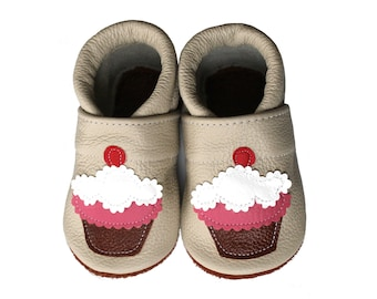 Leather Baby Booties, Muffin Baby Shoes,  Infant Newborn Nursery Children Brown Pink