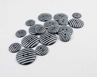 Candy Stripe Buttons - Black [B0034] Sewing Buttons / Knitting Buttons / Craft Buttons / Button Supplies UK